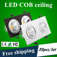 Fedex/DHL עגול/מרובע 12 w 20 w שבב LED COB downlight שקוע הוביל תקרת מנורת אור נקודת אור ניתן לעמעום מנורת led epistar