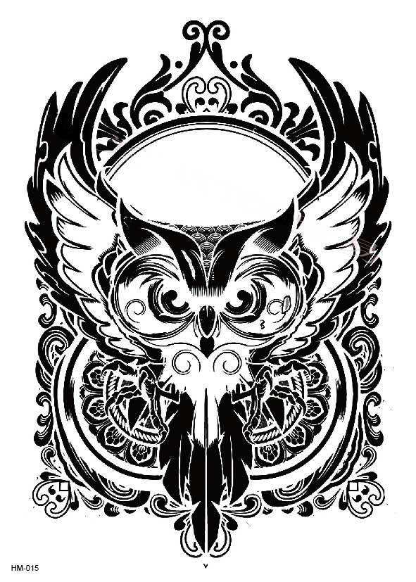 Large Black And White Animal Owl Body Tattoo D Fake Stickers Quality Waterproof Watermark Tattoos For Men Women For Arm Leg In Temporary Tattoos From