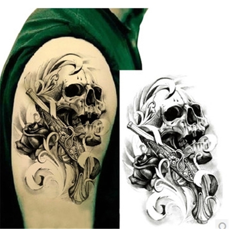 1PCS Black Death Skull Head Shoulder 3D Waterproof Tattoos For Men Temporary Tattoo Sleeve Arm Sticker Metallic Tattoo Body Art