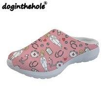 97db519c4f67f Doginthehole Szkic Medyczne Różowy Zewnątrz Sandały dla Kobiet Mieszkania Sportowe  Buty Pantofel Kobieta Mesh Oddychająca Zapatos