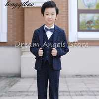 Hot 2016 Top Quality Boys Blue white point Blazer 5 pcs/set Wedding Suits for Boy Formal Dress Suit Prom Suits Toddler Boys