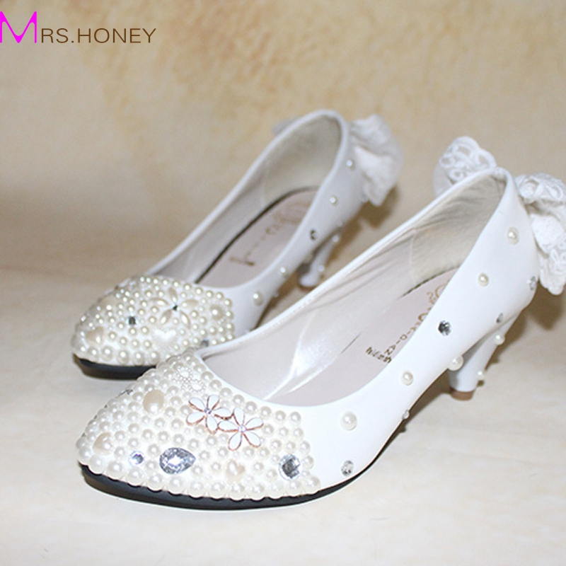 buy white appliqued 2 inches middle heel sapatos femininos shoes women valentine wedding shoes cone heels bridal prom party pumps from