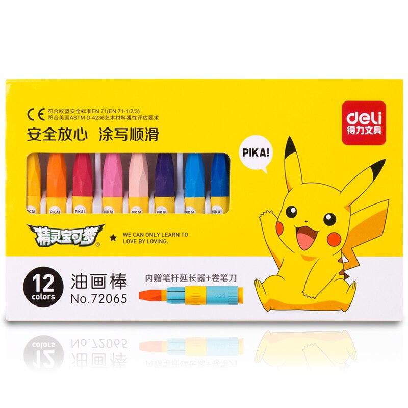 12 18 Colors Wax Crayon Oil Pastel Cute Pokemon Pikachu Drawing