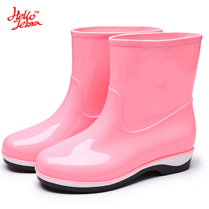 Hellozebra Women Rain Boots Ladies Warm Mid Calf Water Shoes Slip On Waterproof Four Seasons Water Boots 2017 New Fashion Design wellies polka dot breathable belt single shoes wading mid calf fashion gum canister rain womens boots women colorful antiskid