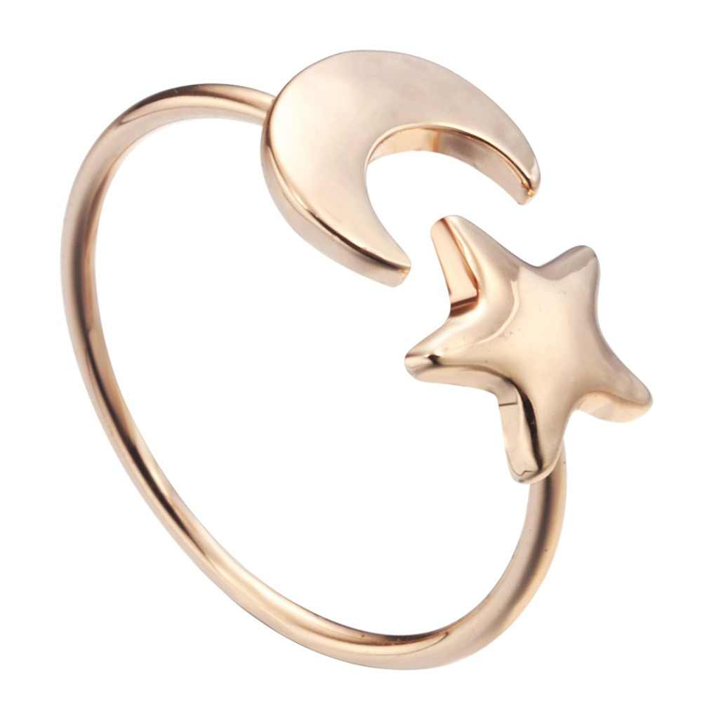 QIAMNI fashion Accessories Jewelry Crescent Moon and Tiny Star Ring Gift for Women and Girls Cute Adjustable Rings