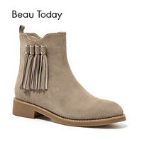 BeauToday Fringe Martin Boots Women Zipper Sheepskin Kid Suede Round Toe Top Quality Brand Ankle Boot Lady Shoes Handmade 03056