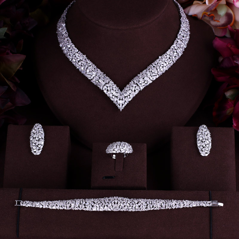 AccKing Luxury cubic zirconia necklace bracelet earrings and ring 4pcs dubai full jewelry set for women,bridal dress dinner a suit of stylish faux sapphire rhinestone necklace bracelet earrings and ring for women