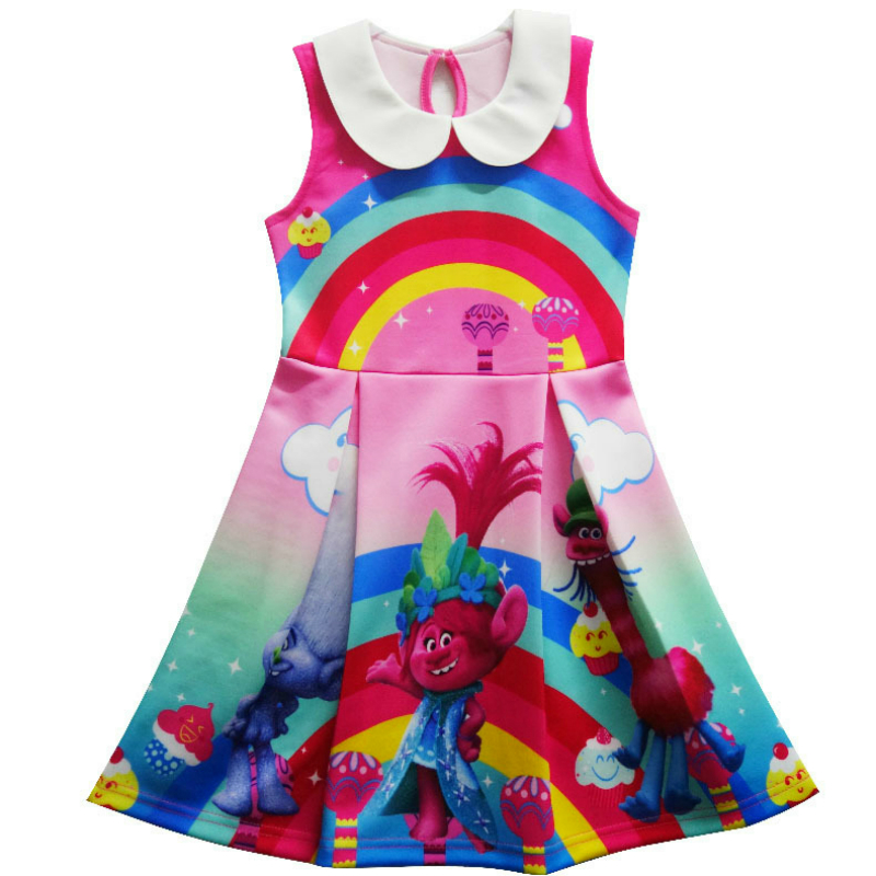 2017 Trolls Dress Children Clothing Summer Girl Dresses Girls Baby Costume Princess Clothes Kid Casual Clothes Children Vestidos summer seaside girls dresses children korean style clothing big girl casual striped costume kids cotton clothes junior vestidos