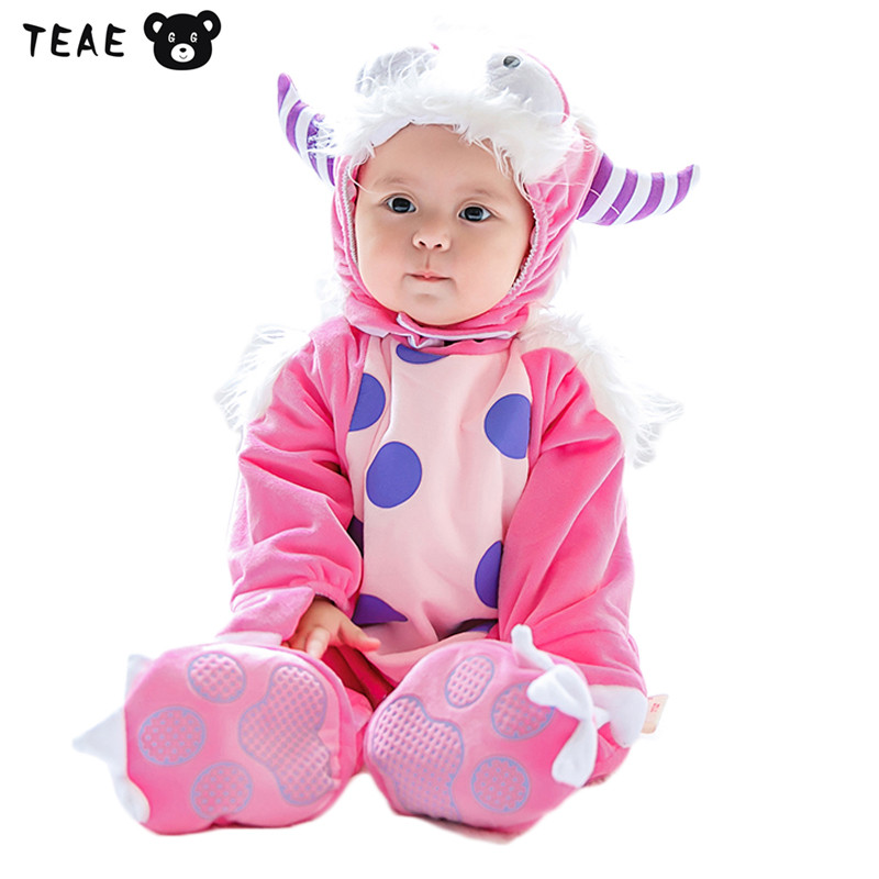 Baby girl Romper Christmas clothes Warm Winter Animal Goat Pink Coral-velvet Jumpsuit  lucky child Removable overall for kids