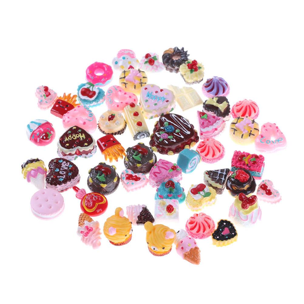 10 шт./лот смолы мини игровой Еда торт печенья пончиков куклы миниатюрный игрушка для мягкого плюша; аксессуары для куклы в случайном порядке