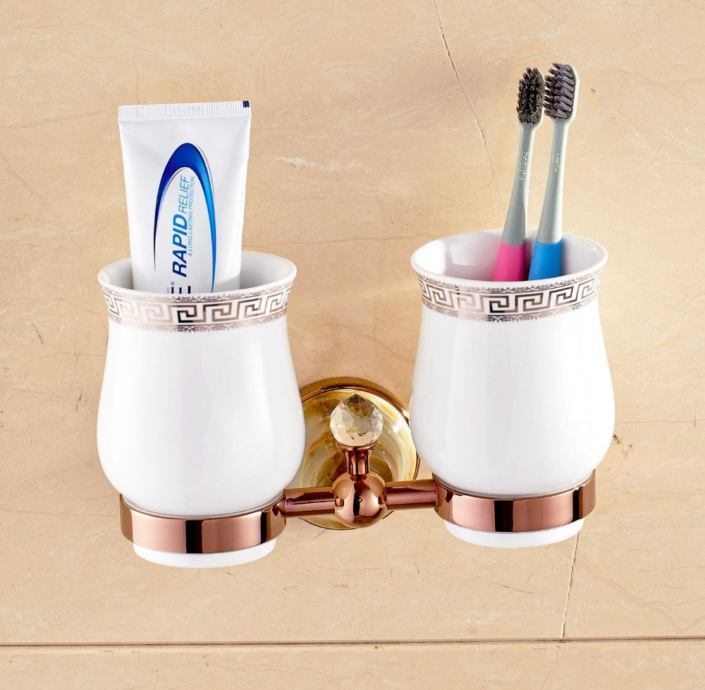 Wall Mounted Tooth Brush Holder Rose Gold Finish Jade Cover With Double Ceramic Cups black oil rubbed bronze wall mounted toothbrush holder with two ceramic cups wba143