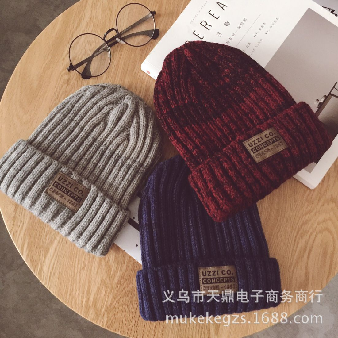 Fashion thick Twist Thread Knitted Hat Children Female Artificial Winter Hats Caps Girl Women thread Knit Beanies 3