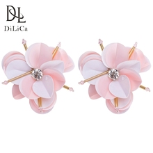 hot deal buy dilica 2018 trendy earrings pink color sequins flower statement earrings for women bohemian earring aretes de mujer
