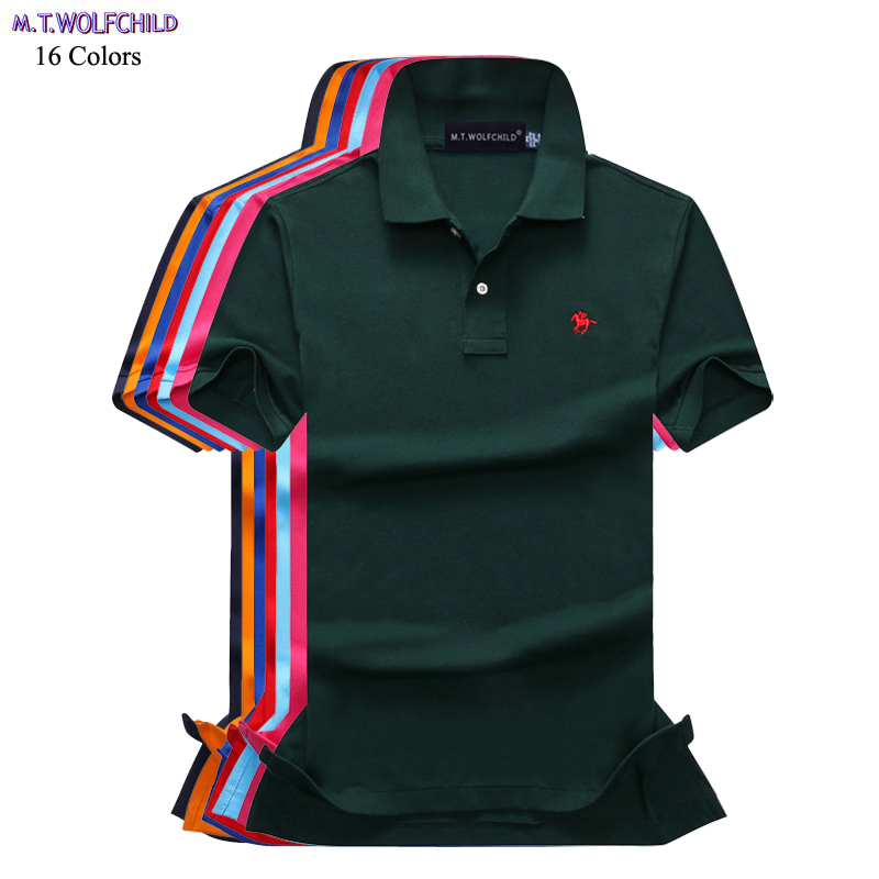 Good quality 2018 Summer mens short sleeve   polos   shirts 100% cotton casual mens small-horse   polos   shirts fashion slim male tops