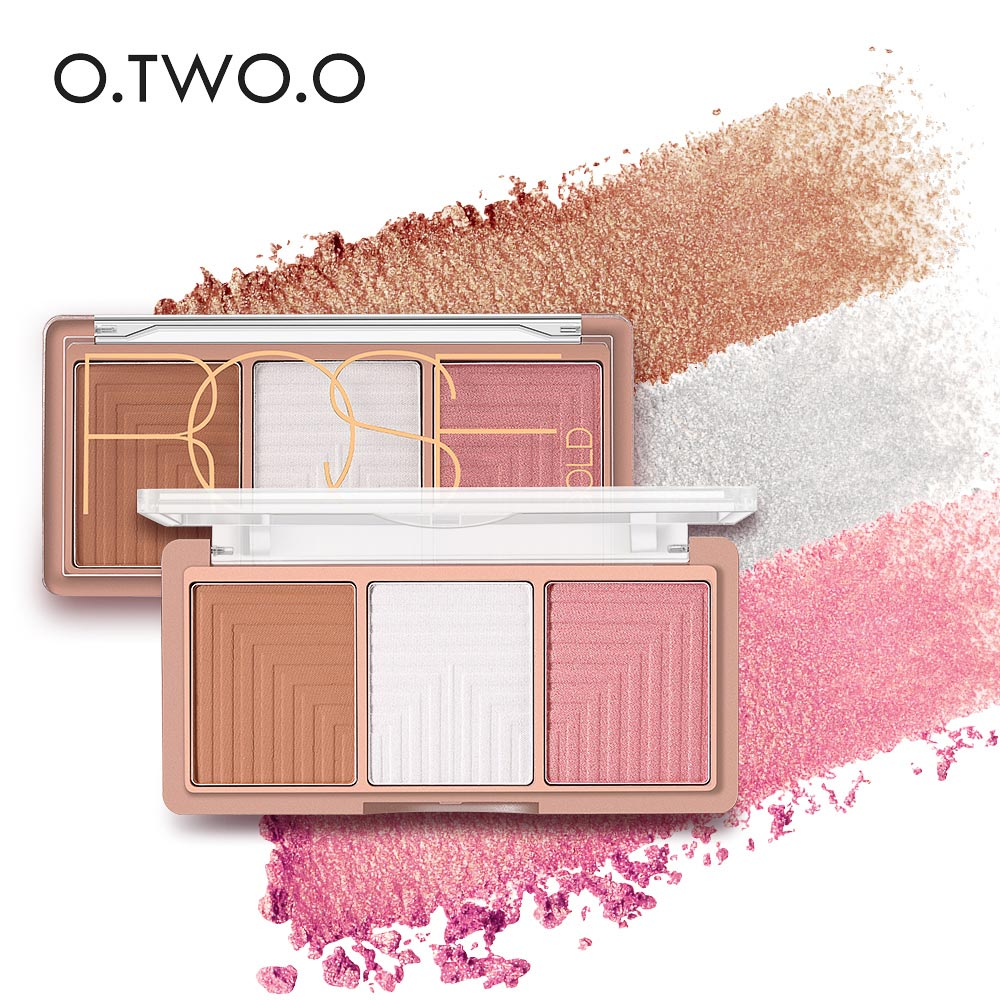 O.TWO.O 4 Colors Highlighter Powder Blush Brush Palette 3D Face Contour Highlighter Shading Powder Face Make up