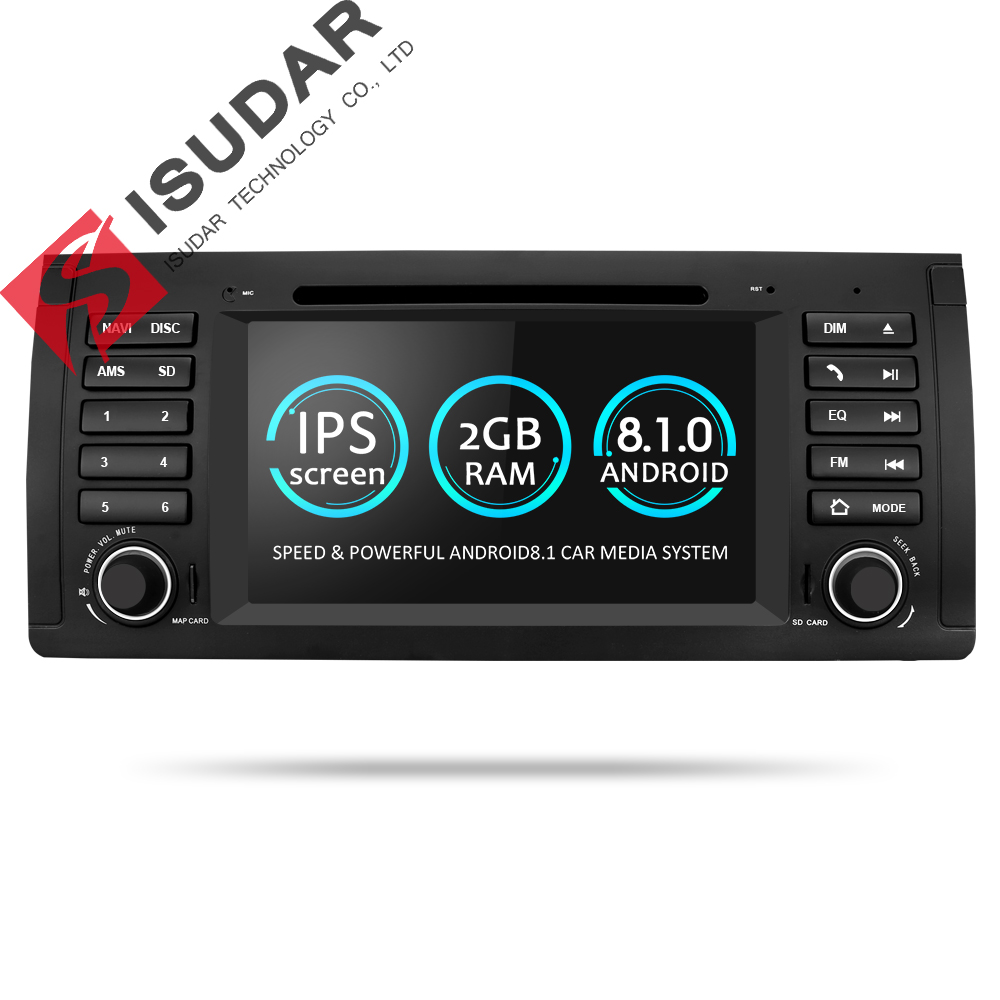 Isudar Voiture lecteur Multimédia Android 8.1 GPS Une Din Lecteur DVD Pour BMW E39 5 Série M5 2 gb RAM 16 gb ROM Wifi Radio Miroir Lien