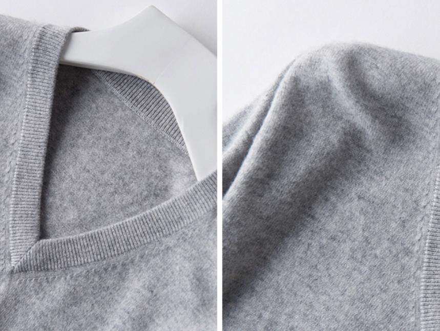 Pullover V-Neck Sweater men 2020 autumn winter cashmere cotton blend warm jumper clothes pull homme hiver man hombres sweater 3