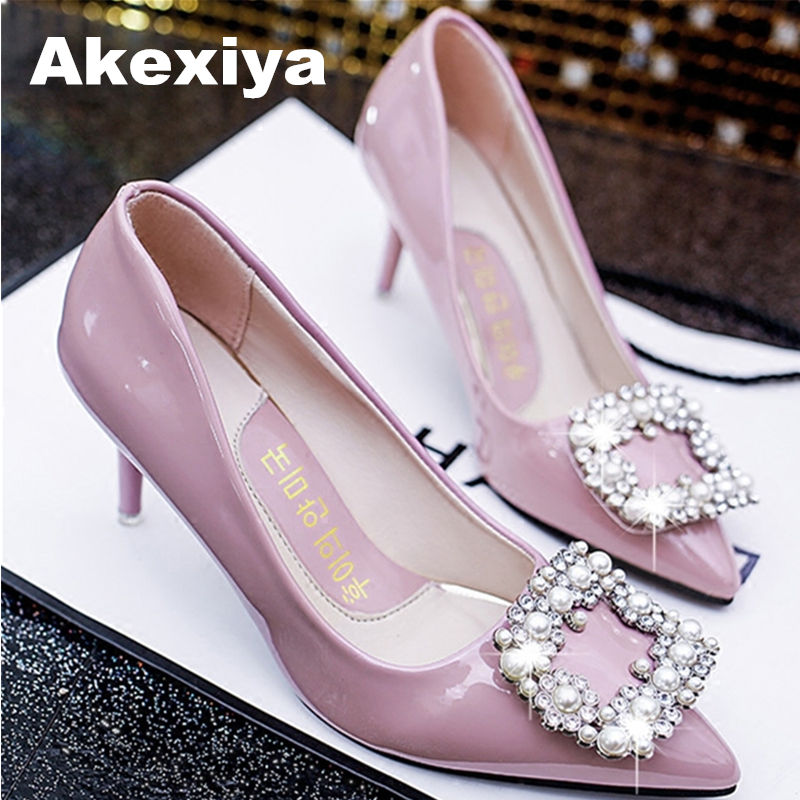 Akexiya Korean Version Rhinestones Sexy Women Shoes Fashion Shallow Mouth Black High Heels Fine With Pointed Woman Pumps 7cm 16cm fine with high heels female korean version of the sexy thin bow shoes round head shallow mouth shop shoes