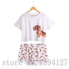 Best продавец милый Для женщин Пижамы для девочек такса принт Комплект из 2 предметов костюм укороченный топ и шорты эластичный пояс свободно плюс Размеры S6706