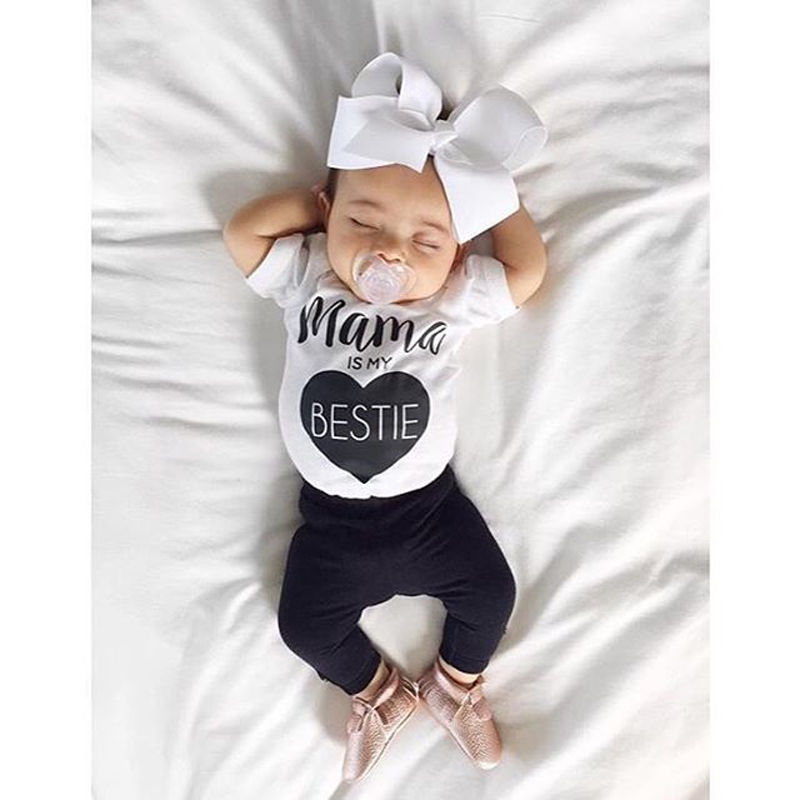 Infant baby girl clothes Cotton   rompers   o neck short sleeve newborn Jumpsuit Mama Prints playsuit baby onesie costume White Y3