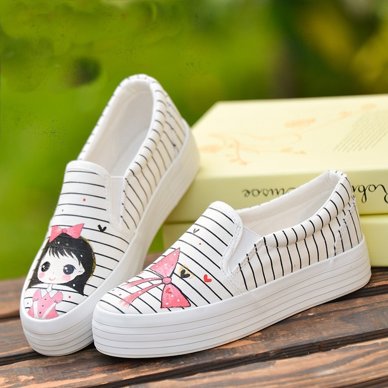 Children's Spring And Autumn New Hand-painted Shoes Girl Boy Striped Cartoon Rabbit And Girl AB Casual Shoes Student Shoes #1