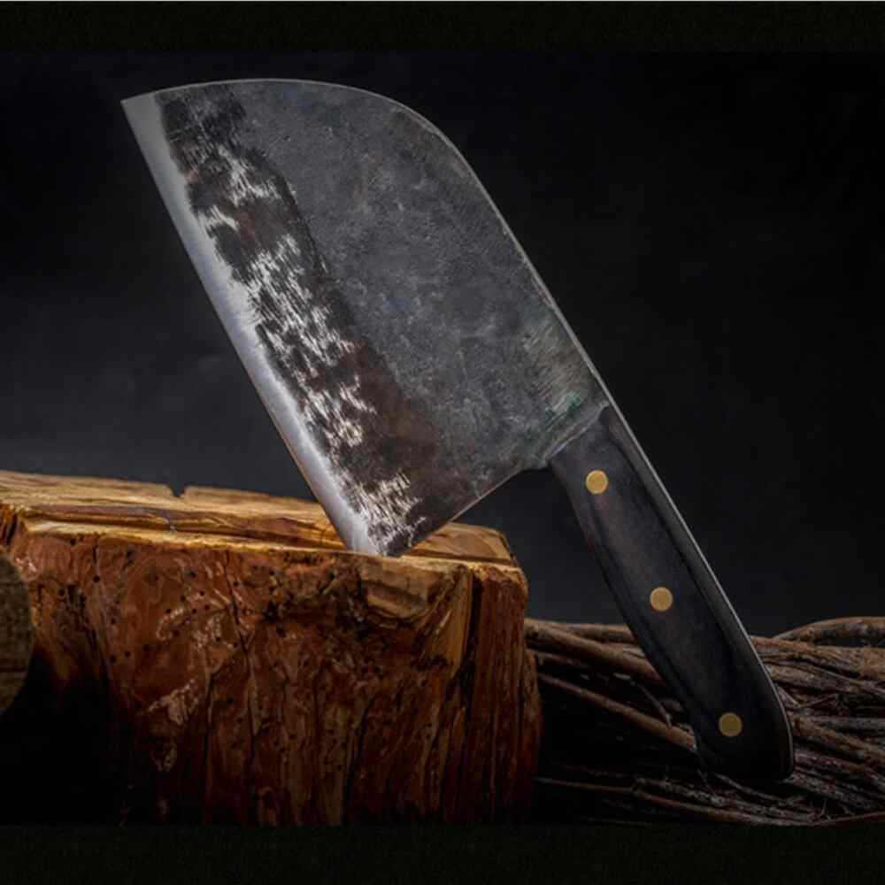 XYj Handmade Forged Chinese Butcher Kitchen Knife Bone Chopper Full Tang Handle High Carbon Steel Chef Knives Free Gift Covers