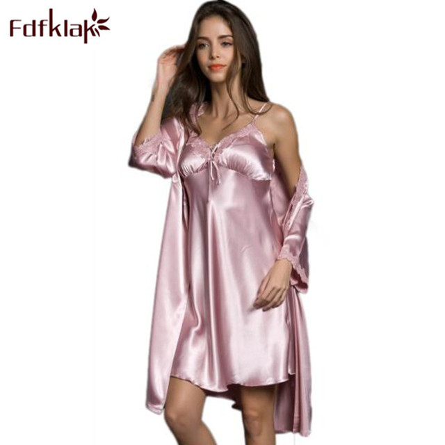 94ab4cee31 Fdfklak Sexy Lingerie 2018 New Spring Summer Faux Silk Two Pieces Nightgown  And Robe Set Ladies Bathrobe Nightdress Q824