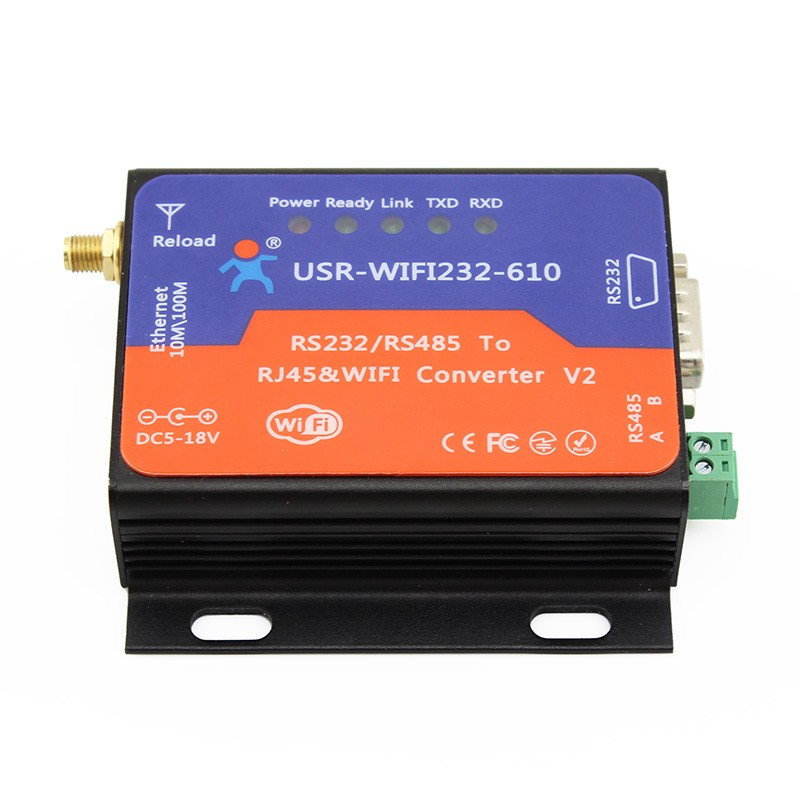 USR-WIFI232-610V2 Serial WIFI Converter RS232 RS485 to WiFi TCP/IP Ethernet Wireless Adapter rs232 to rs485 active converter 232 to 485 converter with power db9 to rs485 converter rs485 adapter