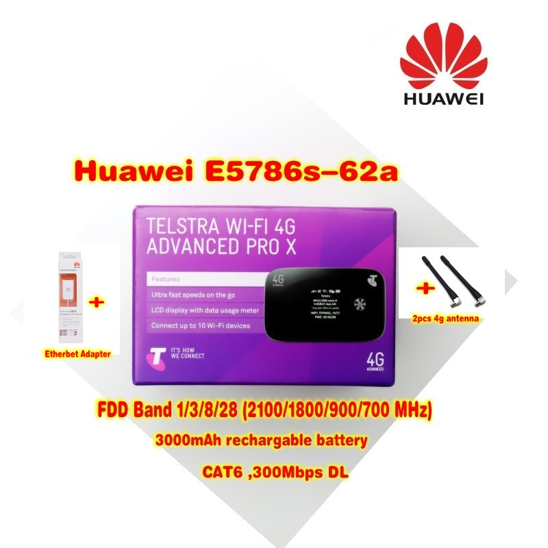 (+2pcs 4g antenna and huawei Ethernet Adapter)Unlocked HUAWEI E5786s-62a 4G LTE Advanced CAT6 300Mbps 4G Pocket WiFi Router