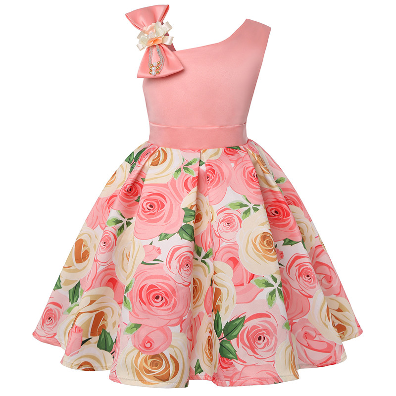 2019 new children's dress slant shoulder girl dress rose print dress dress party children's wear 3