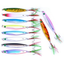 10PCS 7g 10g 14g 17g 21g 28g 40g Metal Lure Fishing Spoon Sea Fishing Hard Lure SliceJig Bait Spoon Fishing Tackle Metal Jigging