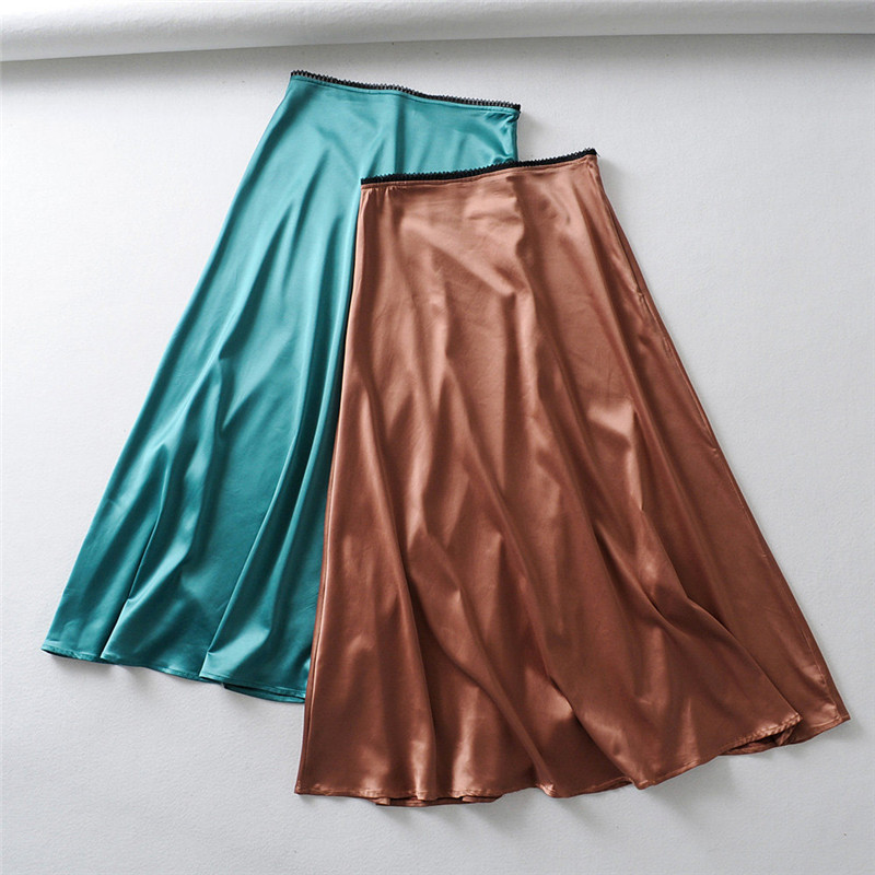 Silk Skirt Lace Satin Office Elegant High-Waist Lady Moda Mujer Faldas