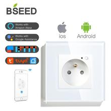 BSEED FR Wall Socket High Quality Glass Crystal Panel Smart France With WIFI White Black Golden