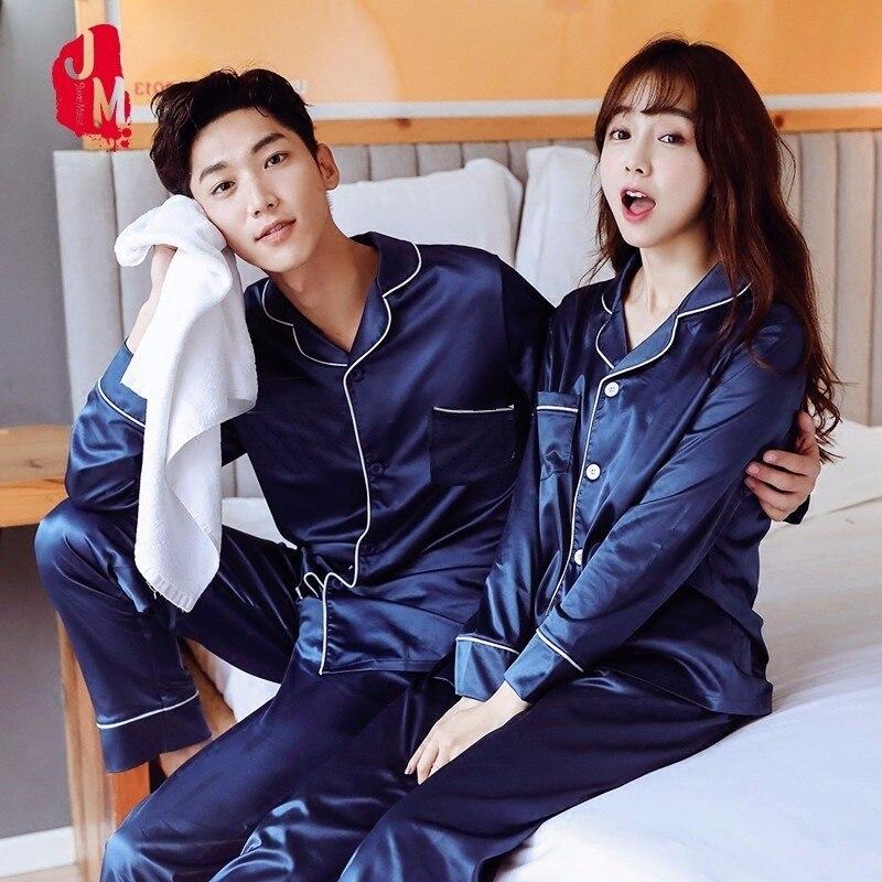 Sleepwear Men Pyjamas Suit Silk Men's Summer Solid Like Casual