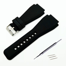 34*24mm Convex End Silicone Rubber Watch Band For Bell Series BR01 BR03 Strap Watchband Bracelet Belt Ross + Tool