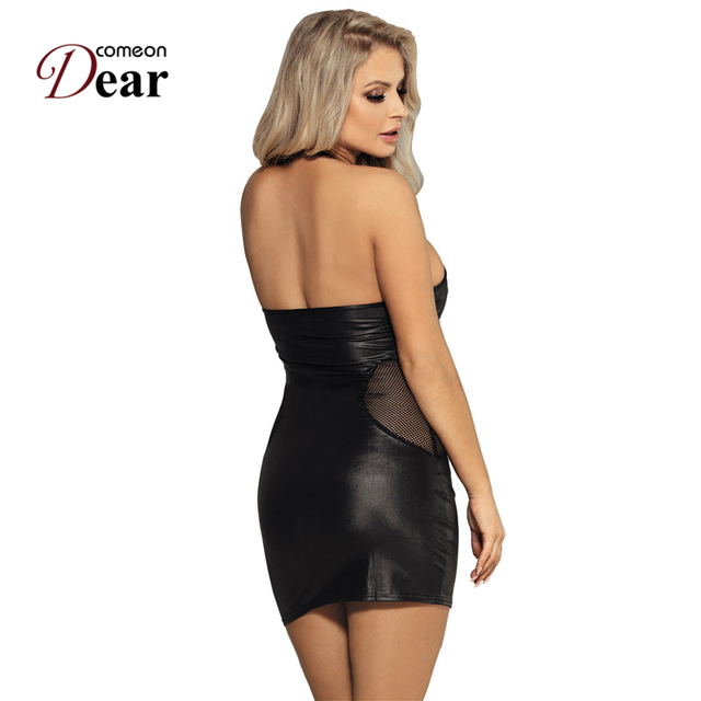 Comeondear Plus Size Women Clothes Robe Femme Moulante Leather Sexy Halter Bodycon Dress RB80454 Night Club Wear Pole Dancing