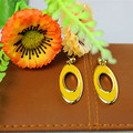 Yellow clay popular woman jewelry wholesale girl birthday party favors 18 k gold oval earrings with free shipping.