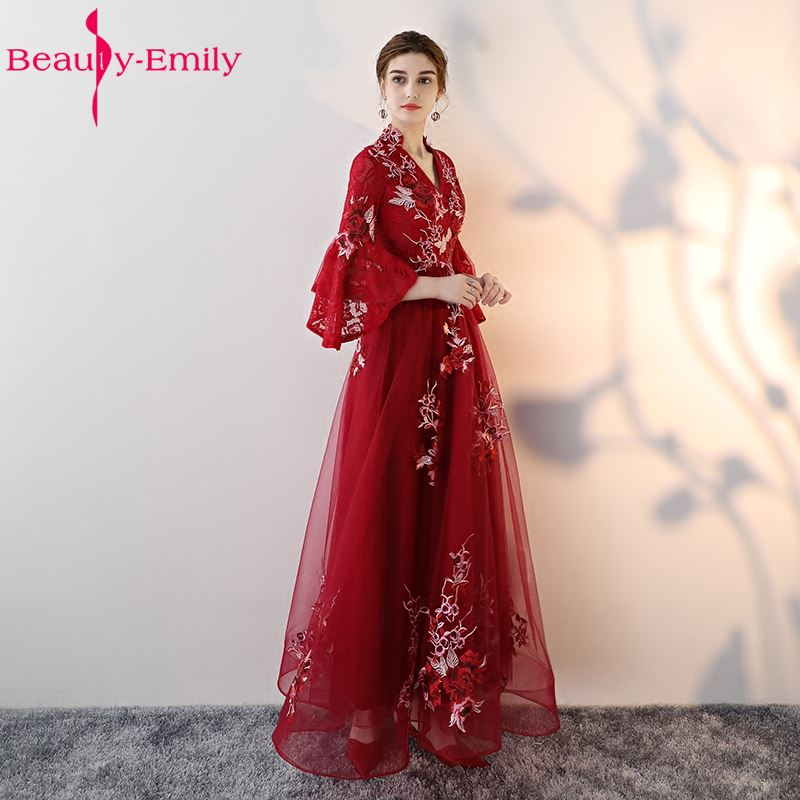 Beauty Emily High Quality Long Wine Red   Evening     Dresses   2019 Formal Party Occasion Women Girl Gowns A-line Half Prom   Dress