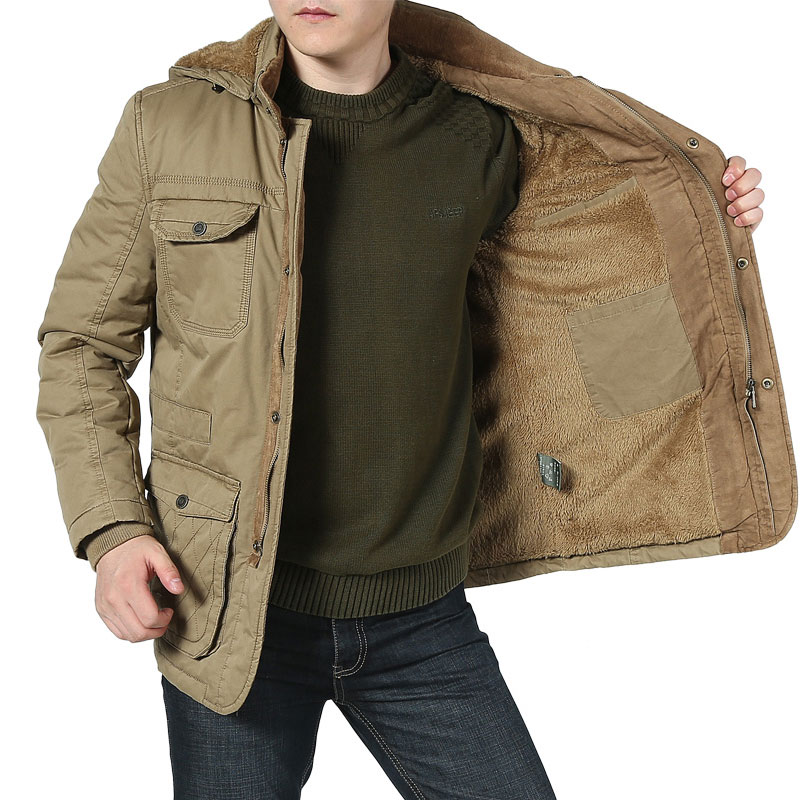 -20 Degree Winter Jacket Men Thicken Warm Parka AFS JEEP Brand Velvet Fleece Wool Jacket Cotton & Down Jacket Men 4XL 5XL DJ052