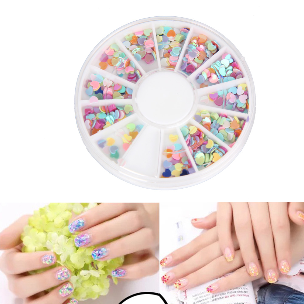 3mm Heart Shape Nail Sequins Glitter Nail Art Tips Nail Rhinestone ...