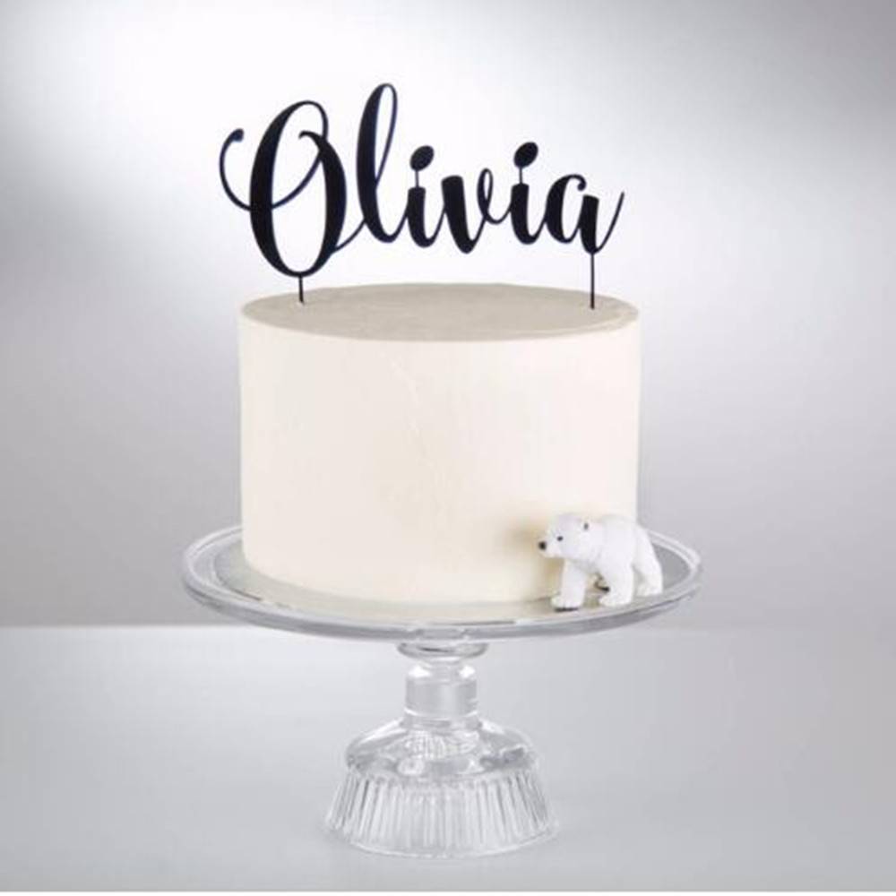 Custom Happy Birthday Cake Topper Acrylic Wooden Personalized Name Party Decoration Supplies