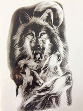 Simple Design Fashion Wolf 21 X 15 CM Sized Sexy Cool Beauty Tattoo Waterproof#160