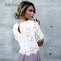 Self Duna 2018 Summer Women Top Tees White Lace T Shirt Sexy Hollow Out O Neck