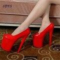 Cdts más: 35-45 46 2016 primavera/otoño de zapatos de mujer de Punta Redonda 20 cm plataforma de los tacones delgados sexy zapatos de mujer de la boda/novia bombas