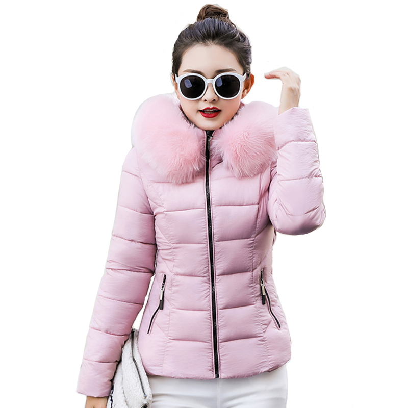 With Fur Women Winter Basic Jacket Hooded Slim Cotton Padded Outwear