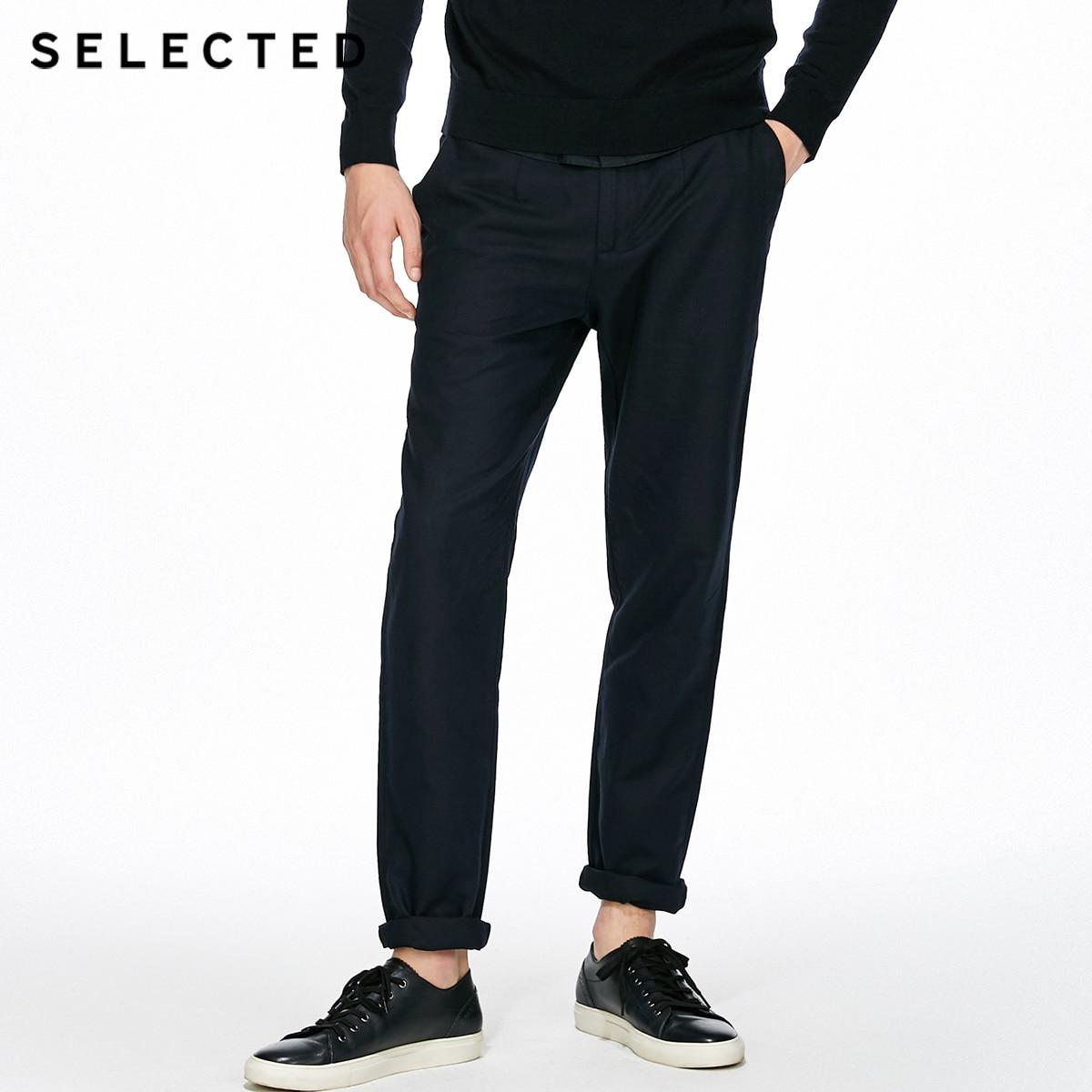 SÉLECTIONNÉ d'affaires décontracté décontracté coton linge de mode pantalon droit C | 417314508 - 2