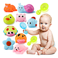 3pcs Baby Kids Cartoon Squeezed Soft Water Bath Small Animals Infant Toys + 1 spoon Squeeze-Sounding Dabbling Toys FCI#