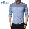 Hot Sale Patchwork Sanded Fabric Cotton Long Sleeve Casual Men Shirt Clothes New Fashion Quality Autumn Spring Shirt Size M-5XL