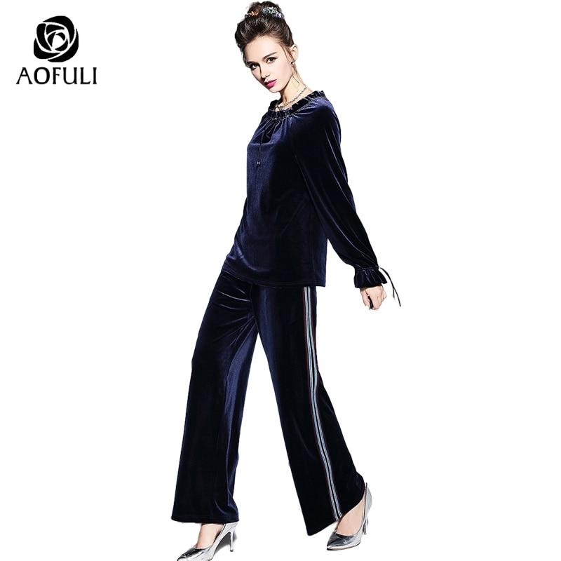 check out b6319 4b7a1 US $60.82 30% di SCONTO S 5XL Velluto Blu Due Pezzi Set Vestito di  Pantaloni Autunno Lungo Top a manica + pantaloni Larghi del Piedino  Tailleur ...