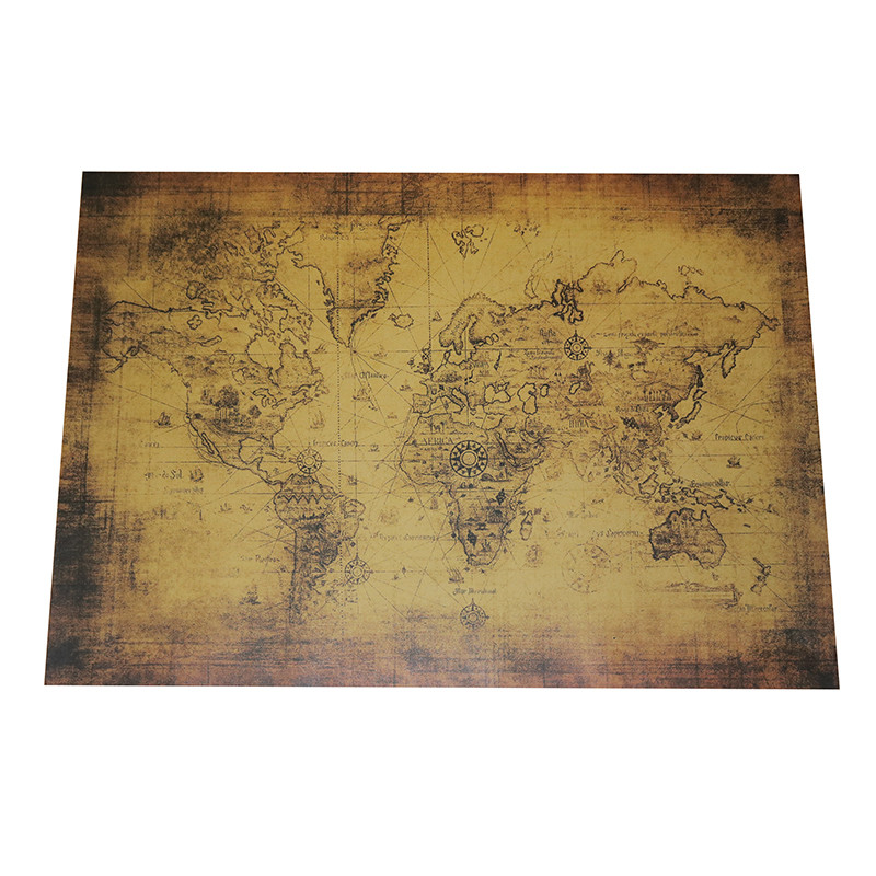 Vintage Map 2 Pcs Poster Kraft Paper 72.5*51.5cm Student Stationery Wall Stickers Wallpapers Home Decor Decorative Paintings